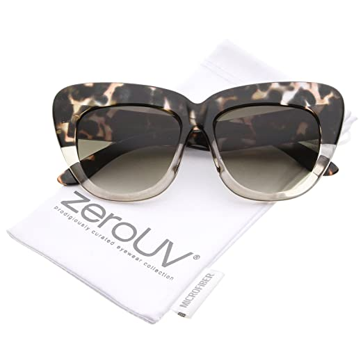50bc6832b1a1 Oversize Printed Frame Wide Temple Square Lens Cat Eye Sunglasses 55mm  (Black-Tortoise-