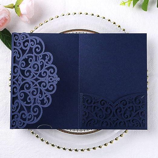DIY Wedding Invitations Grey Pearlescent Pocket fold Wallets with Envelopes