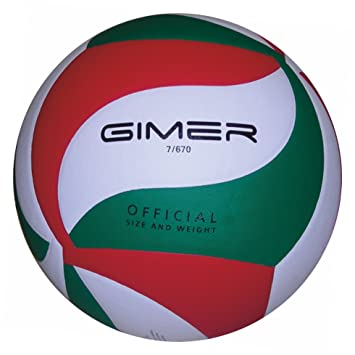 GIMER 7/670 Balón Volley Soft/PU, Blanco/Rojo/Verde: Amazon.es ...