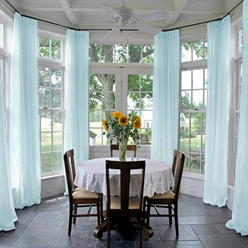 Drapifytex Solid Sheer Sky Blue Curtains Pinch Pleated Draperies for Living Room 150 inches Width 96 inches Long Drapes Voile Panel for Corridor 1 Panel