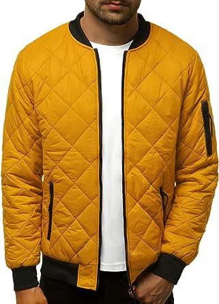 OZONEE Nature 4632 Overgangsjas voor heren, bomberjack, opstaande kraag, capuchon, gewatteerde jas, lichte outdoor bufferjas, gewatteerd