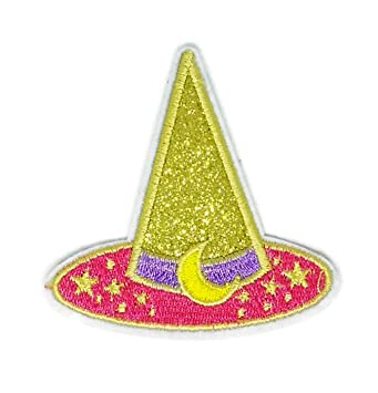 Sombrero de bruja amarillo, bordado, para coser, planchar, coser, planchar,