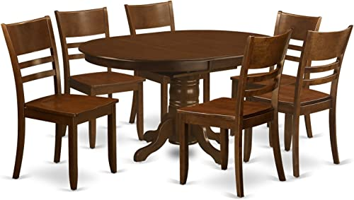 KELY7-ESP-W 7 Pc Kenley Dining Table with a 18 Leaf and 6 hard wood Kitchen Chairs in Espresso .
