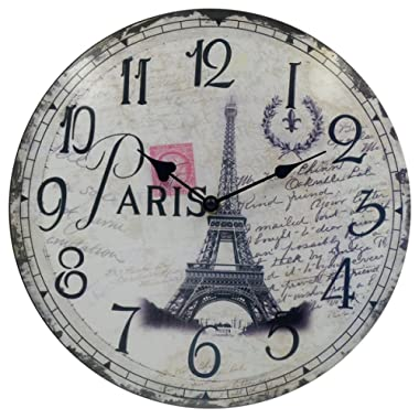 HIPPIH Silent Round Wall Clocks (12 Inches) Living Room Decorative Vintage/Country/French Style Wooden Clock(Round Eiffel)