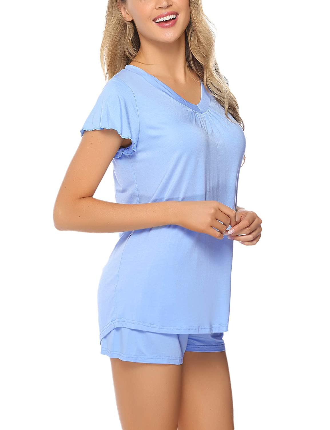 Aibrou Womens Pyjama Shorts Set Cotton Shorty Sleeved Loungerwear PJ Set for Summer