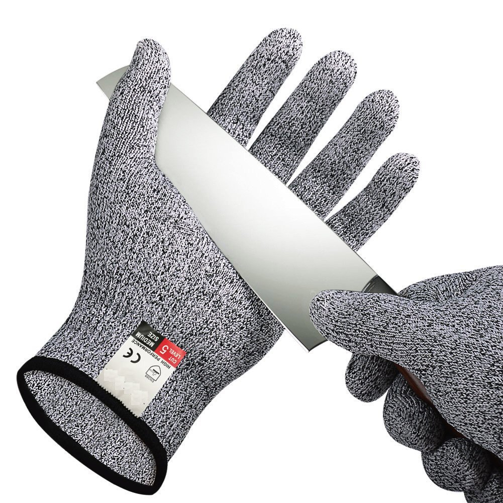 Cut Resistant Gloves Anti-Slip Work Gloves High Performance Protective Safety Glove for Kitchen Garden Home Steel Automobile Electromechanical, Black Zoomlie
