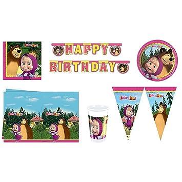 Masha el orso - Partyset - (40 platos, 40 vasos, 40 servilletas, 1 mantel, 1 feliz cumpleaños de la bandera, bandera de la bandera 1)