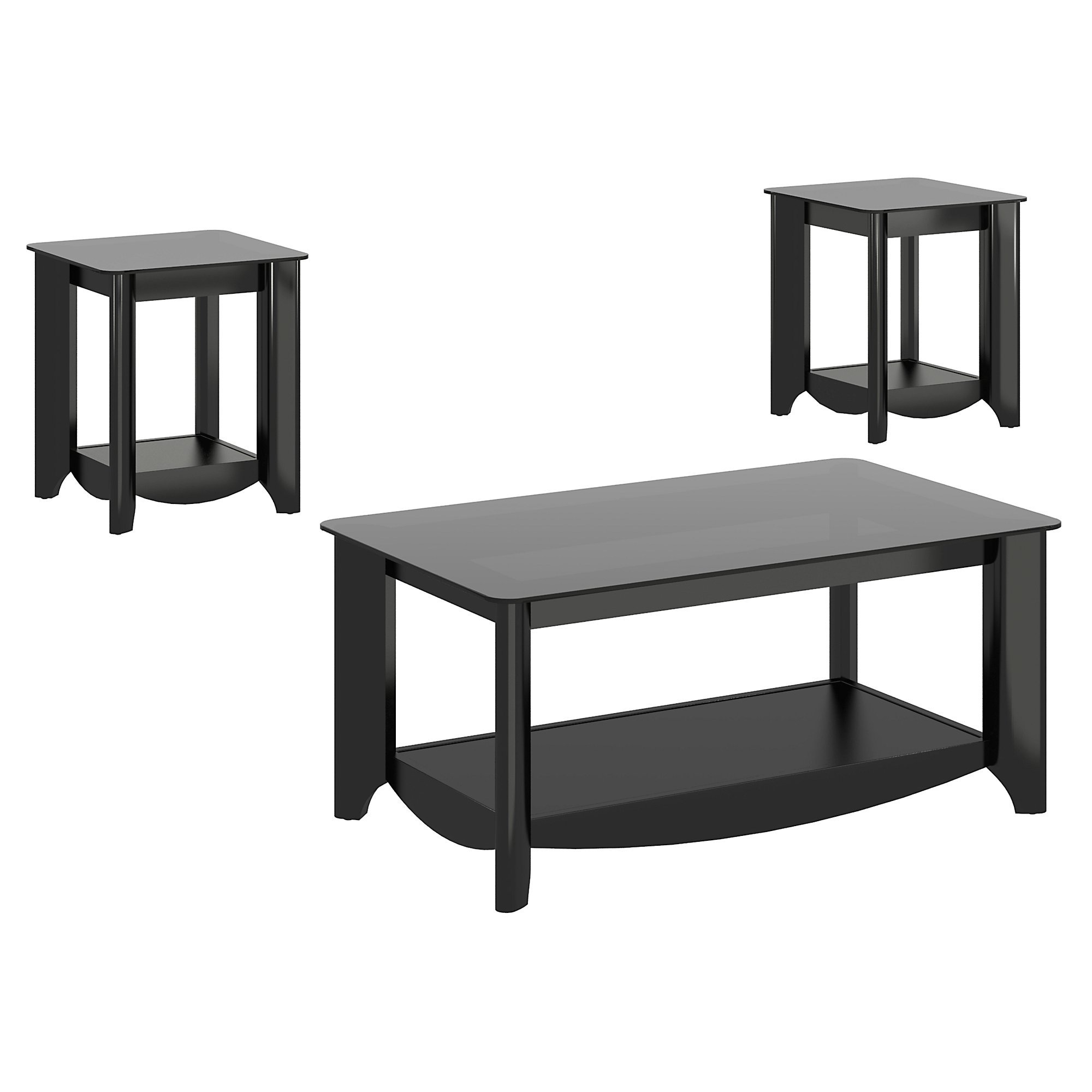 Bush Furniture Aero Coffee Table with End Tables in Classic Black by Bush Furniture