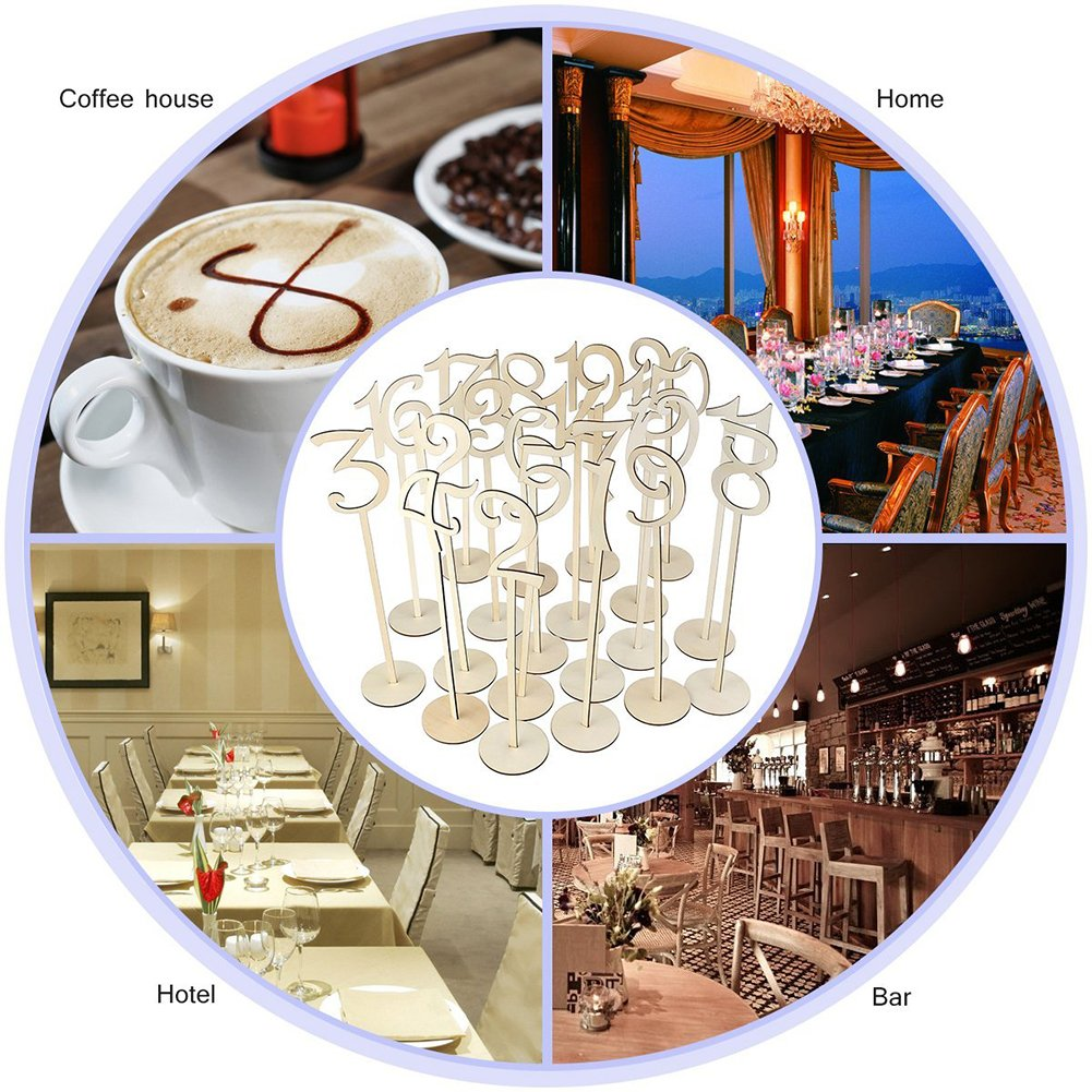 20PCS Number 1-20 Seat Card Wedding Banquet Number Place Holder Decoration Wedding Party Supplies by Aneil (Image #2)