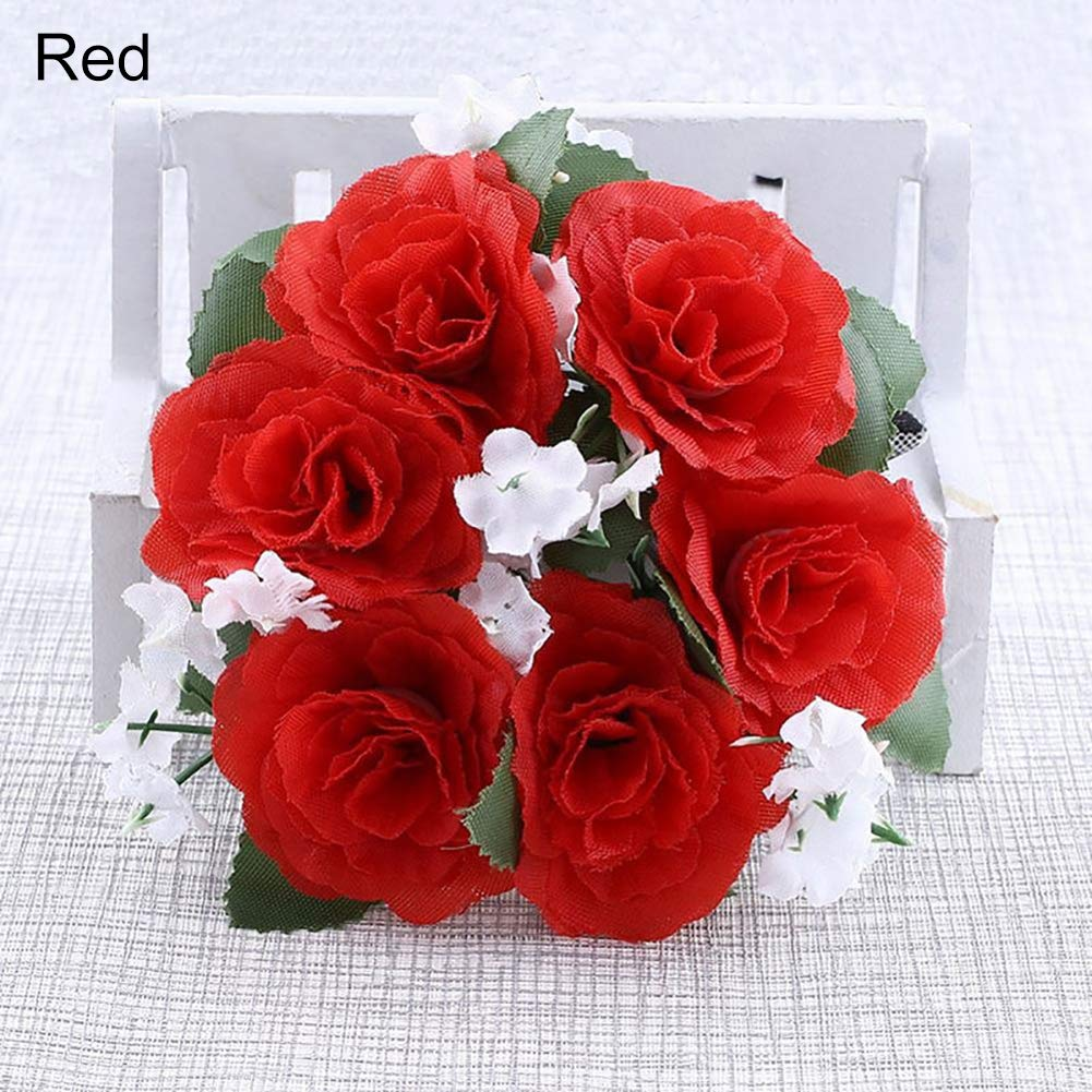 Flower Candle Ring Faux Rose Candle Rings for Wedding Party Festival Home Dining Room Tabletop Centerpieces Decoration- Red qsbai