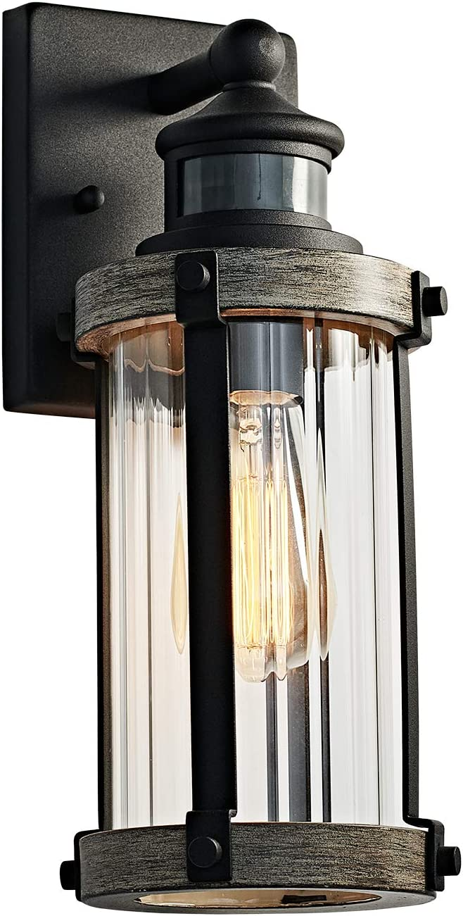 MOTINI Outdoor Wall Lantern Lamp with Motion Sensor, Textured Black Rustic Wall Light with Clear Ribbed Glass, 60W, ST58 Bulb Included, ETL Listed