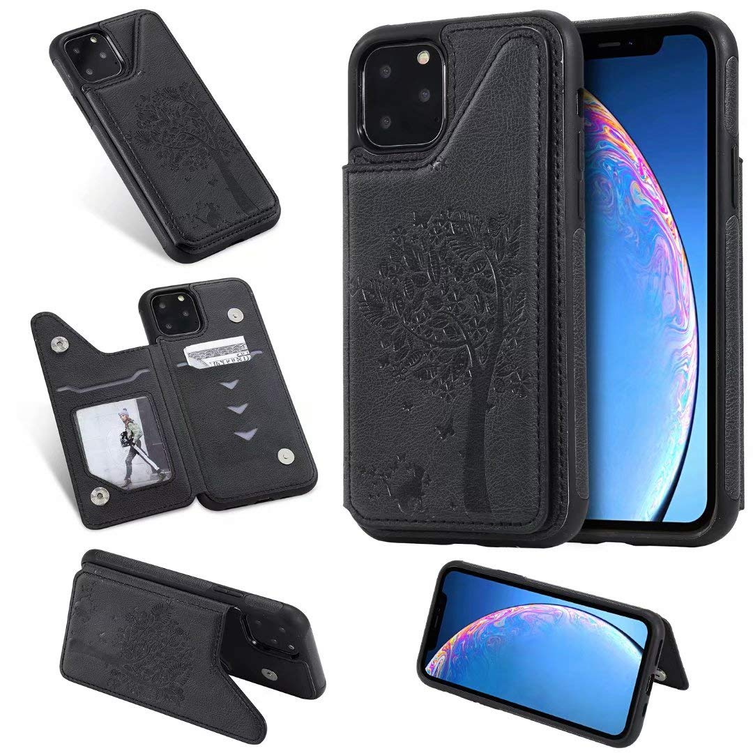 DAMONDY Wallet Case for iPhone 11 Pro 2019,Emboss Tree Cat Slim Protective Case with Credit Card Slot Holder Flip Folio Soft PU Leather Magnetic Closure Cover Case for iPhone 11 Pro 5.8 Inch-Black by DAMONDY