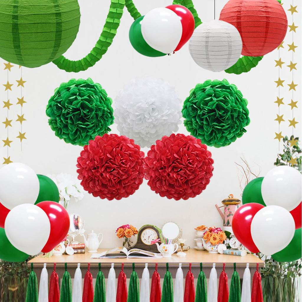 Jinjin Christmas Wall Decorations Background Decoration Paper Fringe Flower Honeycomb Set Paper Lantern Latex Balloon Fringe Paper Party Supplies (Multicolor) by Jinjin