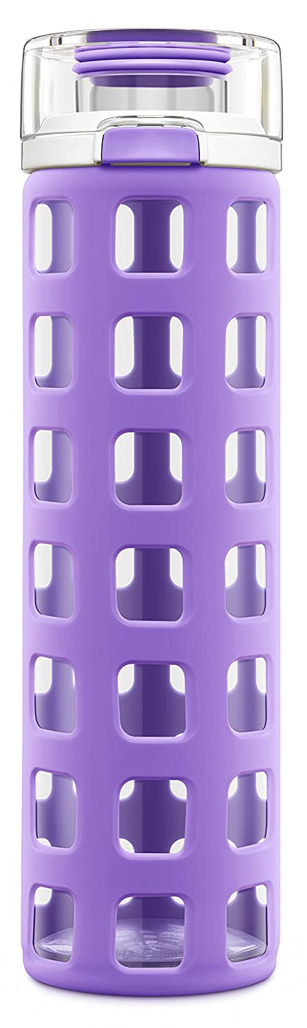 Ello Syndicate BPA-Free Glass Water Bottle with Flip Lid, 20-Ounce