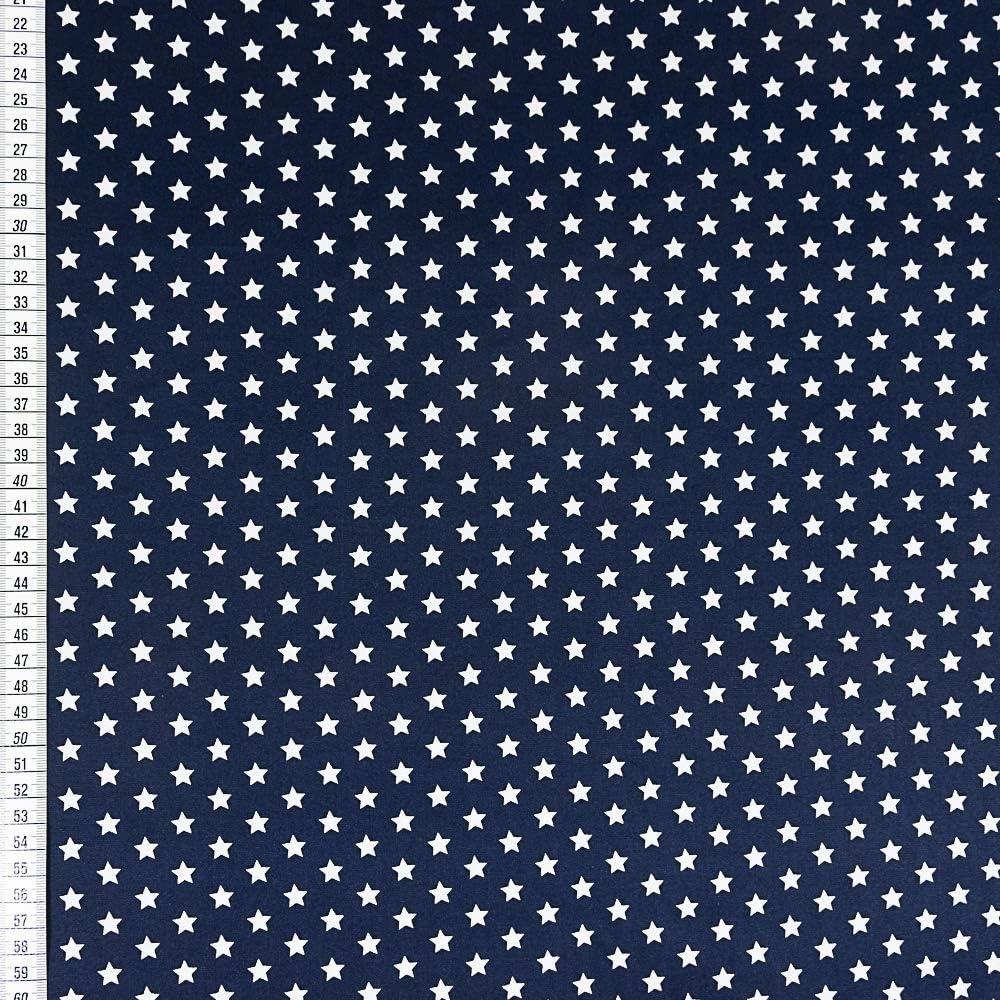 Tela de algodón azul marino con estrellas blancas. Precio por 0,5 ...