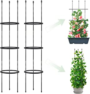 2 Pack Garden Trellis, 2 in 1 Plant Cages & Supports for Vines Crop, Plant Trellis for Climbing Plants Indoor Outdoor, Plant Stake for Flower, Vegetable, Tomato,Vines, Pot Trellis for Potted Plants