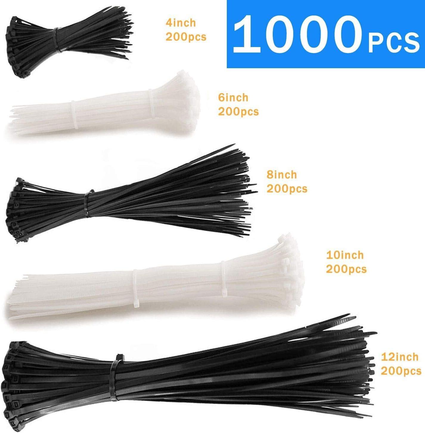 Self-Locking Nylon Plastic Ties Combo Pack Zip Ties Heavy Duty Cable Ties 4+6+8+10+12 Inch Black /& White 1000pcs