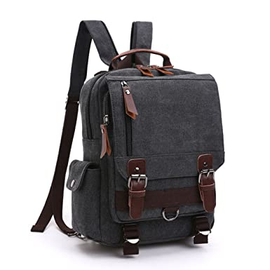 45a996398d72 Amazon.com: Canvas Backpack Men Travel Back Pack Multifunctional ...