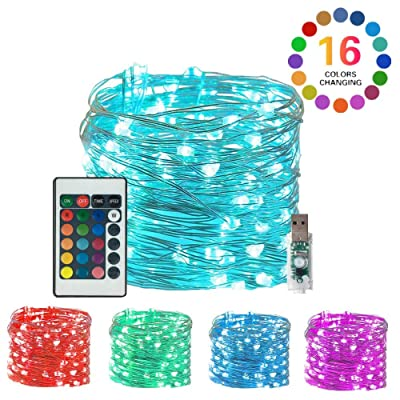 100 LED Fairy String Lights USB Plug-in Outdoor Twinkle Starry Lights with Remote Timer 16 Color Changing Twinkle Lights 33 Ft 4 Modes Decor Mini Wire Lights Bedroom Party Xmas Home : Garden & Outdoor