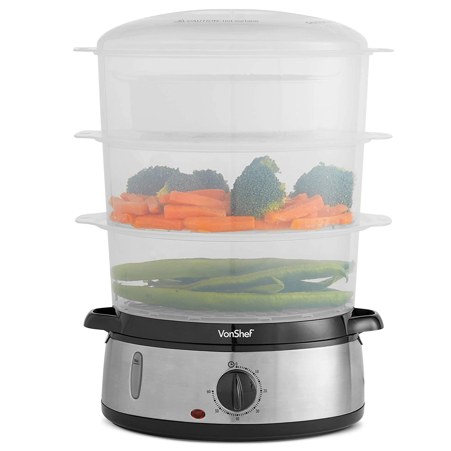 VonShef Food Steamer with 3 Removable Tiers, 60 Minute Timer & Rice Bowl Included - Electric - 800W