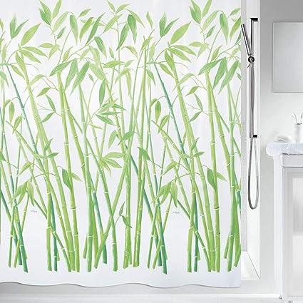 MSV Duschvorhang 180x200cm Anti Schimmel Textil Badewannenvorhang Bambus