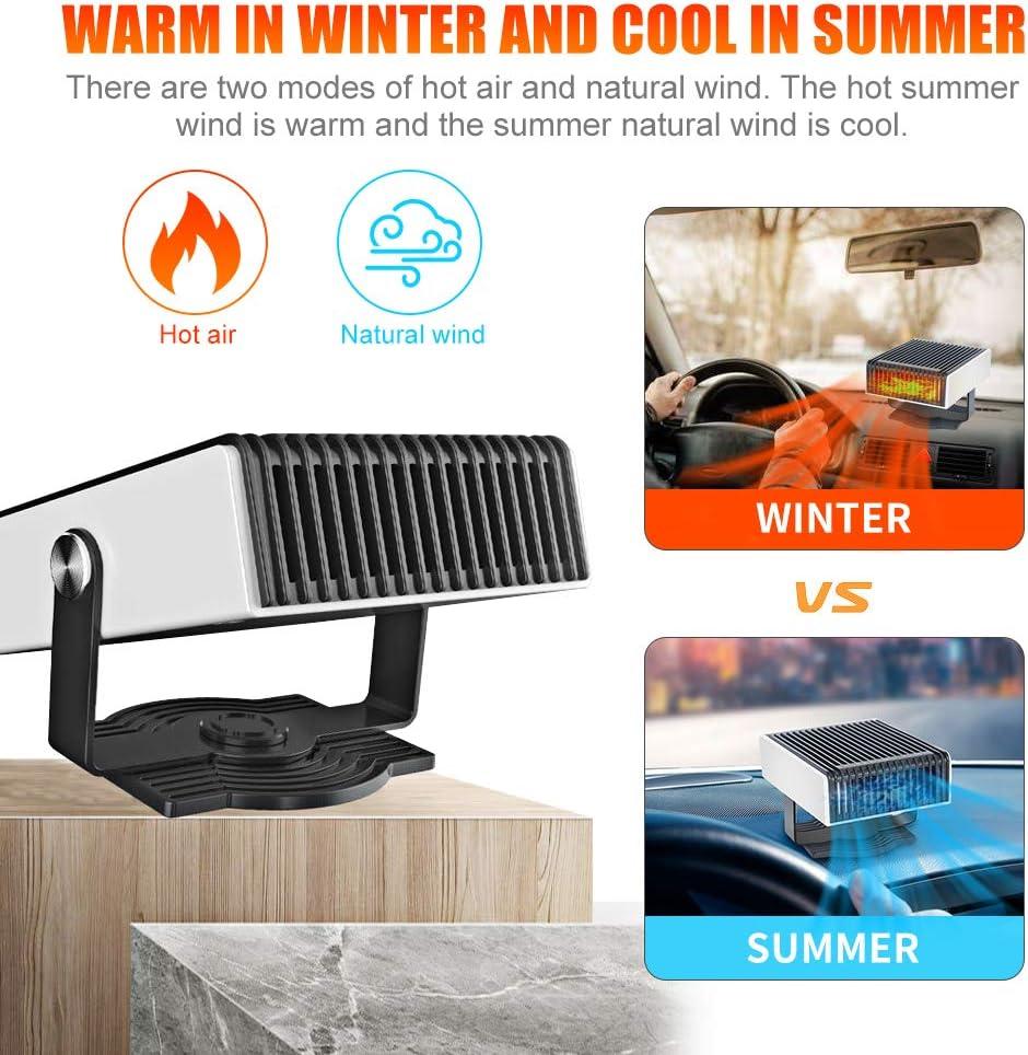 upstartech Ventilador Calefactor para Coche 12 V, funci/ón de enfriamiento y descongelaci/ón 2 en 1