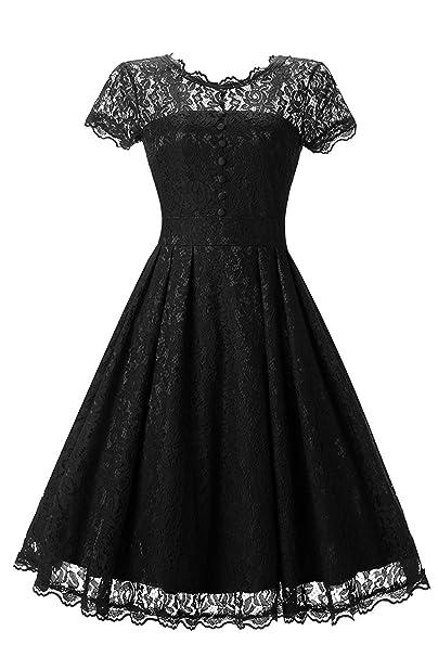 4618b82dde61 Haokeda Women s Vintage Floral Lace Cap Sleeve Jewel Neck A Line Cocktail  Prom Swing Dresses (