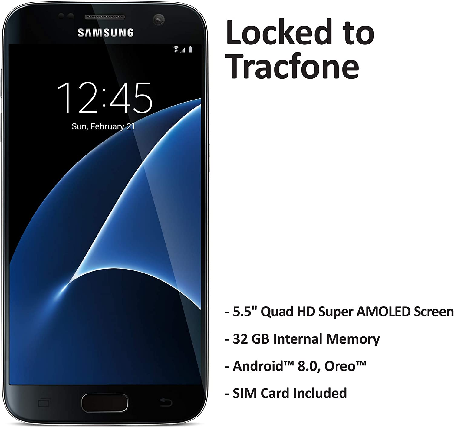 ($50 eGift Card Promotion) TracFone Samsung Galaxy S7 4G LTE Prepaid Smartphone (Locked) - Black - 32GB - Sim Card Included - CDMA
