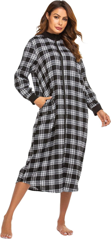 Ekouaer Zipper Robe Plaid Nightgown Zipper Housecoat Christmas Loungewear for Women