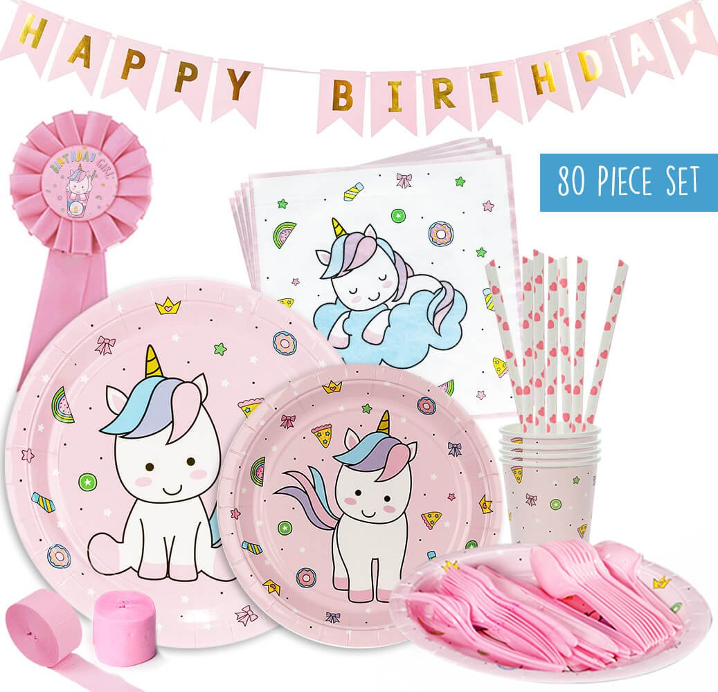 Unicorn Baby Shower Decorations | Party Pack Set for an Adorable Baby Shower or a Unicorn Birthday Party Supplies for a Little Girl. Pink and Blue ...