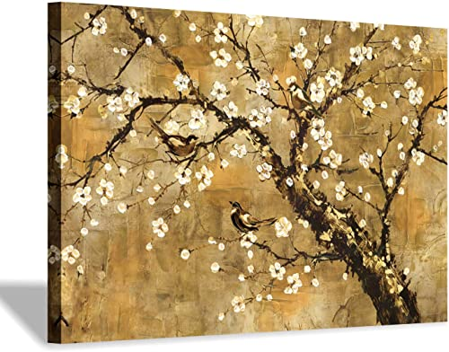 Plum Blossom Floral Canvas Painting Traditional Flowers with Yellowish Brown Background Canvas Wall Art Picture for Living Room 36 x 24 x 1 Panel