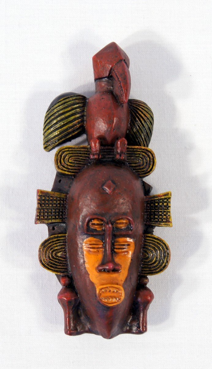 Set of 6 B New Handpainted Poly Stone African Mask Arts Assorted Magnet Free