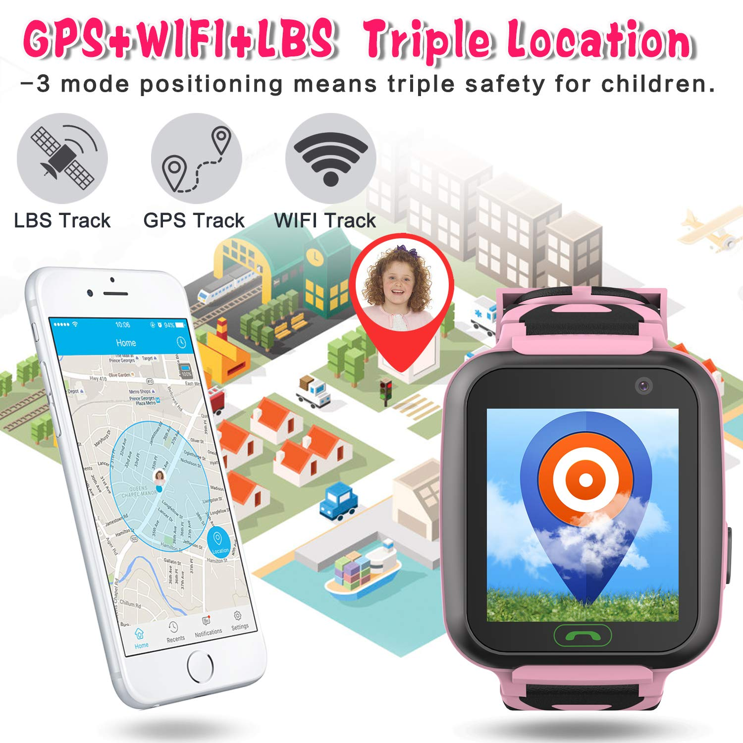 [SIM Card Include] Kids Smart Watch-Upgrade Real GPS Tracker Waterproof WiFi Smart Watch Phone for Boys Girls with Fitness Tracker Pedometer Camera Alarm Clock Kids Back to School Gifts (Pink) by GBD (Image #2)