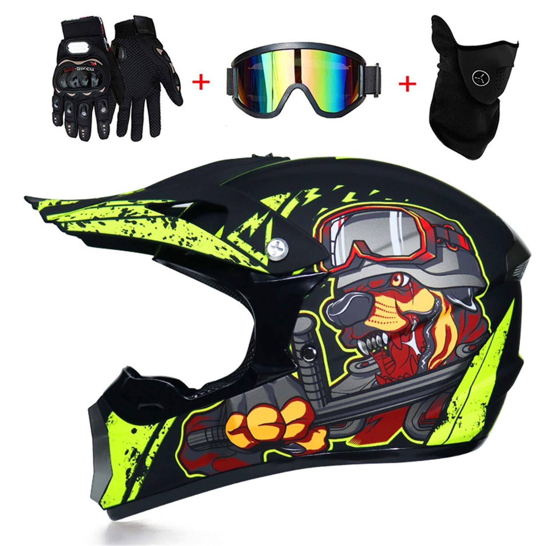 M-GLT Casque de Moto//Off-Road Sport de Bicyclette Casque avec des Gants Lunettes de s/écurit/é Coupe-Vent Doublure Amovible et Lavable