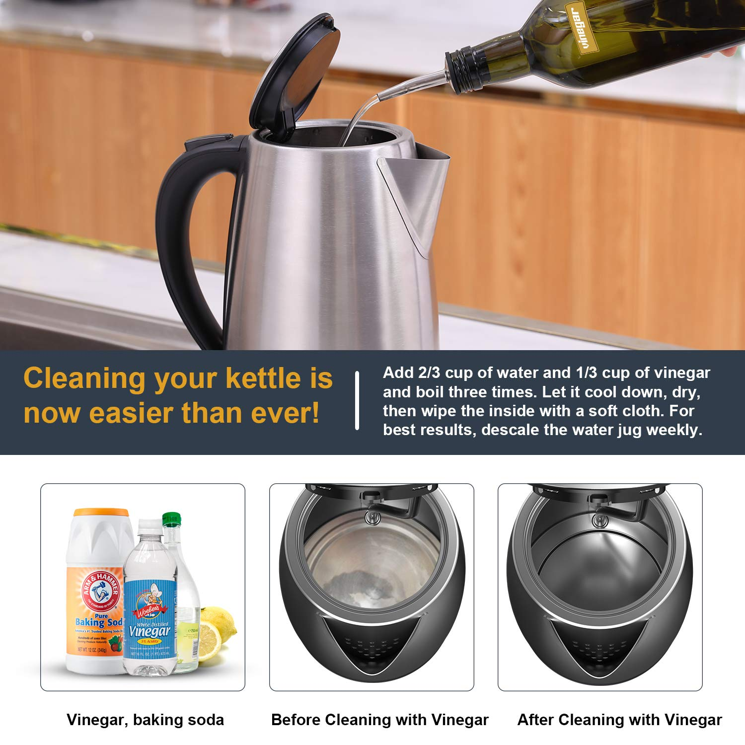 Electric Kettle - 1.7 Liter 304 Stainless Steel Hot Water kettle - Coffee Pot & Tea Kettle - Auto Shutoff and Boil Dry Protection, Cordless, FDA/FCC Approved by Weftnom (Image #7)