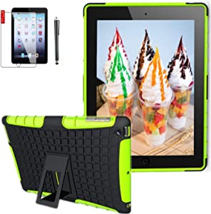 Ipad 4th Generation Case 9.7 inch (Old Model), ipad 3rd / 2nd Cover for Ipad Model md510ll/A MC769ll /A Mc979ll /A Mc705ll /A A1458 A1430 A1416 A1395 2In1 TPU PC Design Cover (Green)