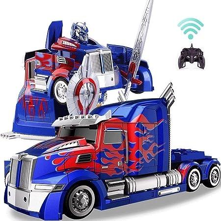 AIOJY Control remoto de camiones Deformación Optimus Prime RC juguete transformable Robot 360 ° Velocidad de deriva Camión articulado 11 años de edad fiesta de cumpleaños de robot de juguete Modelo AB: