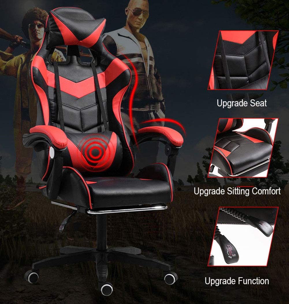 JFSKD TV-spelstolar, datorstol, 360° svängbar höjd justerbar vilande PU läder PC-stol med fotstöd och ryggkudde a D