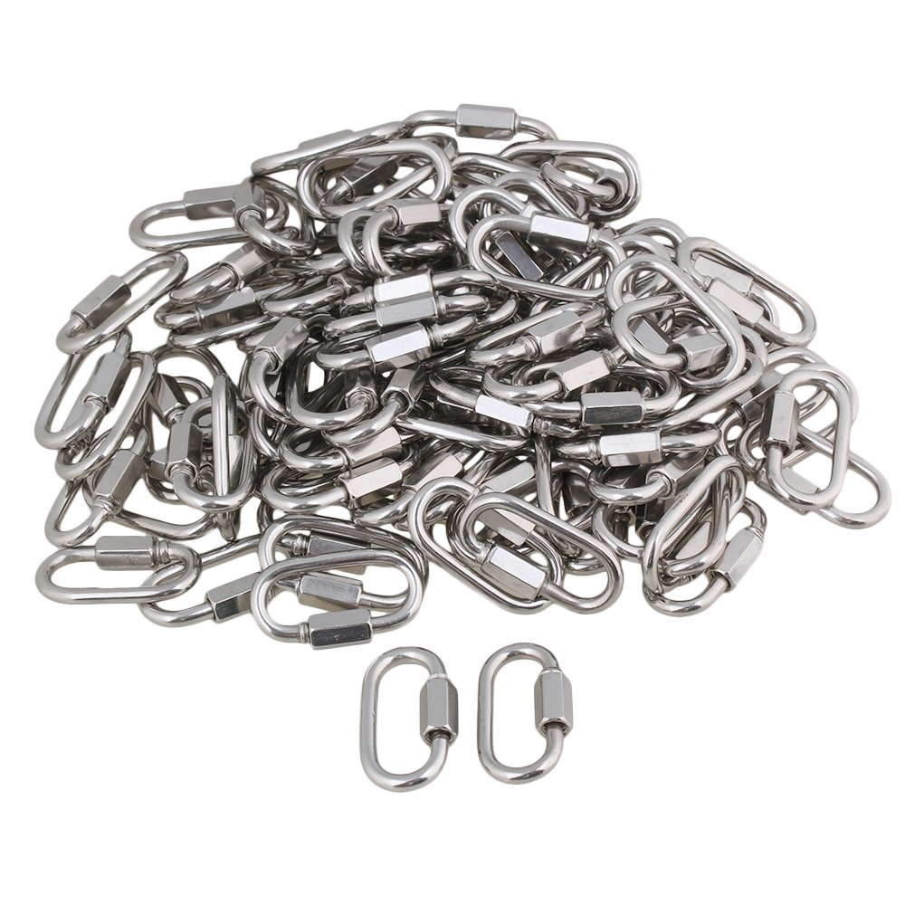 Yibuy 100x Multifunctional Stainless Steel Quick Oval Screwlock Link Lock Carabiner M4