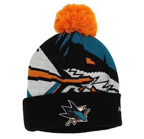 new arrival 46120 cc14a ... discount code for nhl san jose sharks youth cuffed pom knit hat one  size 8 20