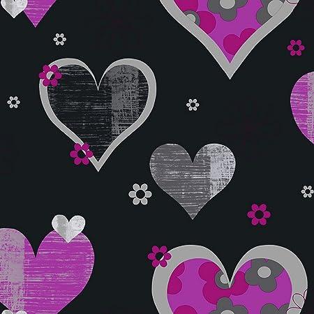 Arthouse 533703 Happy Hearts Wallpaper Black Pink 53 Cm X 1005 M