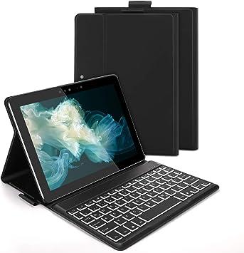Jelly Comb Funda con teclado retroiluminado para Surface Go 2018/2020 (1ª Gen/2ª generación), teclado QWERTZ Bluetooth desmontable con funda para ...