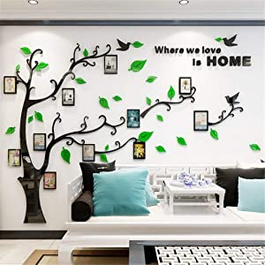 Unitendo 3D Acrylic Tree Wall Stickers Photo Frames FamilyTree Wall Decal Easy to Install &Apply DIY Photo Gallery Frame Decor Sticker Home Art Decor (Green Leaves-Left, L)…