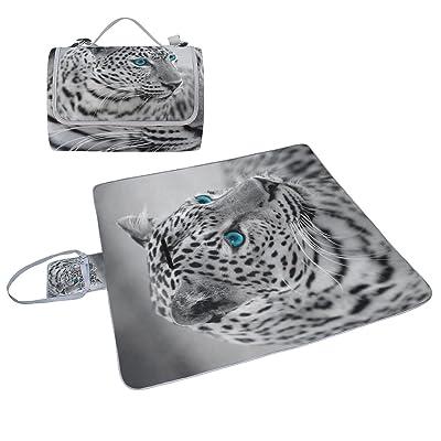 COOSUN Noir et blanc Jaguar Couverture de pique-nique Sac pratique Tapis résistant aux moisissures et étanche Tapis de camping pour les pique-niques, les plages, randonnée, Voyage, Rving et sorties