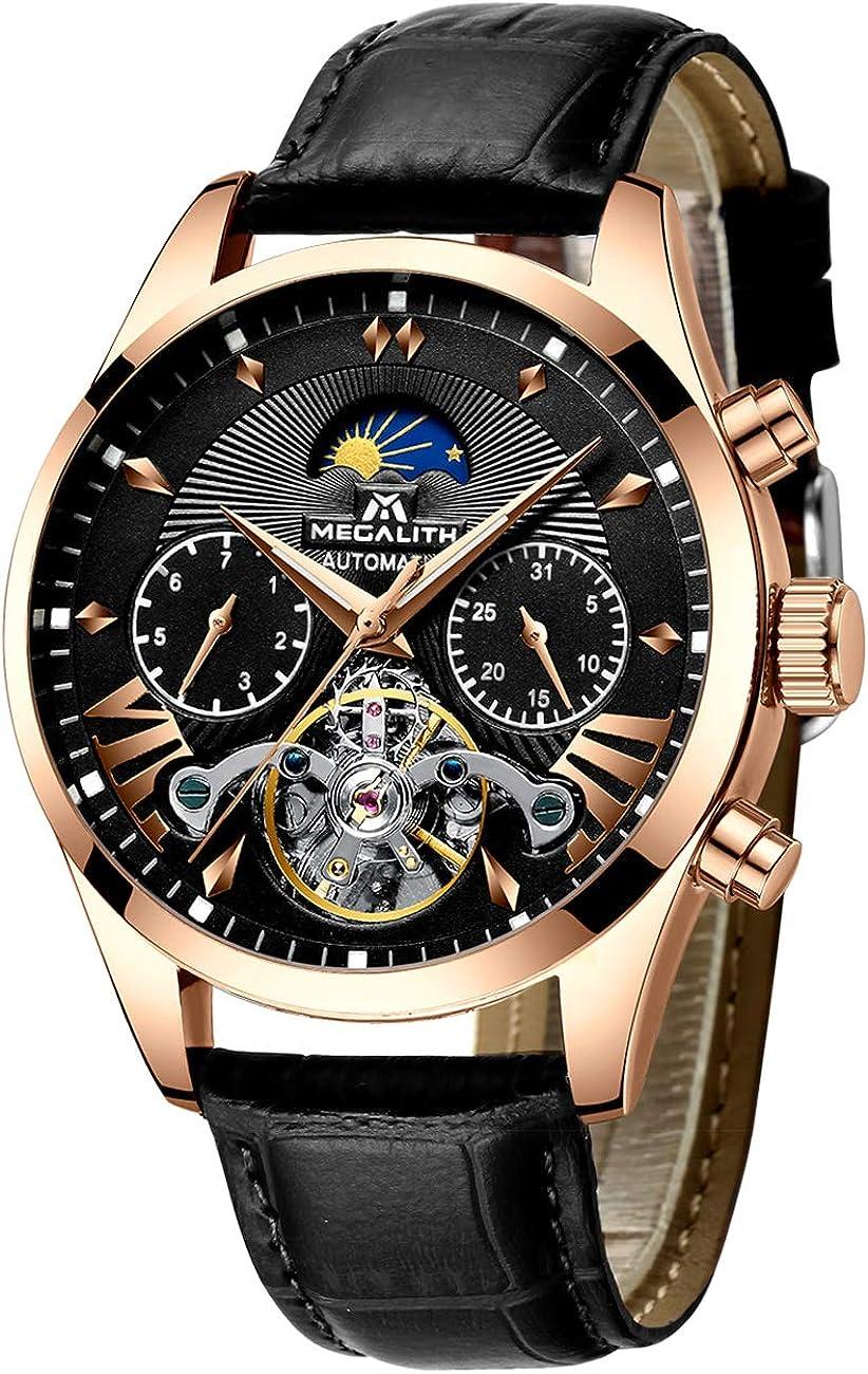 Relojes Hombre Reloj Hombre Automatico Mecanicos Impermeable Esqueleto Oro Acero Inoxidable Diseño Reloj de Pulsera Negro Luminosos Analógico Fase Lunar Calendario