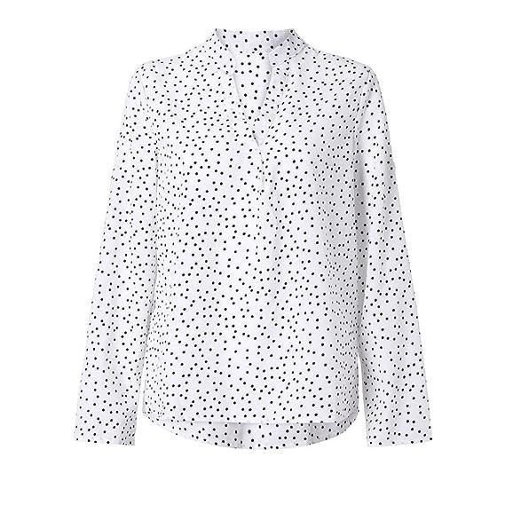 Tefamore Camisetas Manga Larga Mujer, Otoño Cuello En V Blusas de Lunares Casual