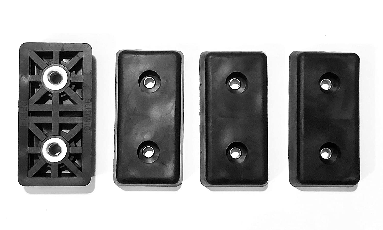 4 Extra Large Rectangular Rubber Feet Bumpers - .590 H X 3.000 L X 1.510 W - Made in USA