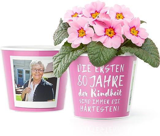 80geburtstag Geschenk Blumentopf ø16cm Lustige Geburtstagsgeschenke Für Frau Oder Mann Mit Bilderrahmen Für Zwei Fotos 10x15cm Die Ersten