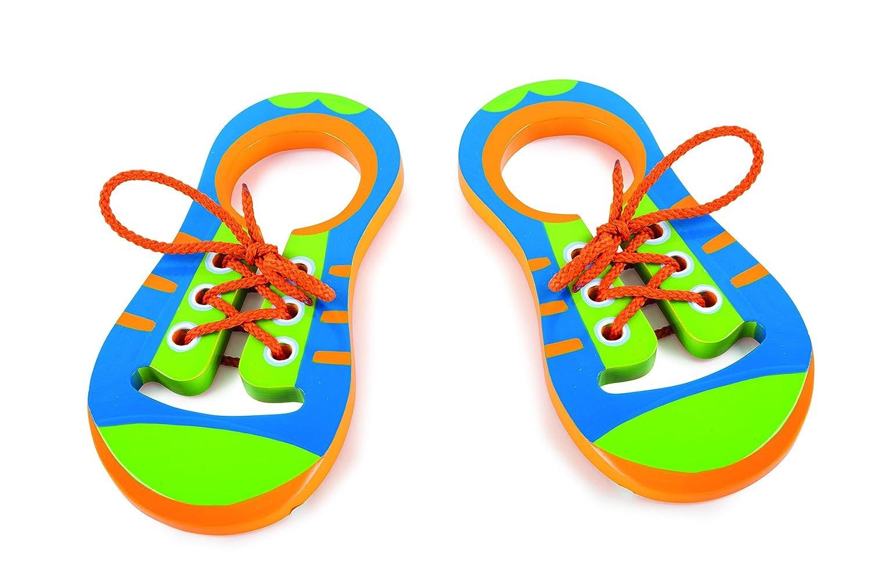 Fädelschuhe aus Holz, 2er Set in farbenfroher Gestaltung, inkl. passender Schnürsenkel, ein linker und ein rechter Schuh üben spielerisch das Einfädeln und Binden von Schnürsenkeln, ab 3 Jahren Fädelschuhe aus Holz Small Foot Design 10152