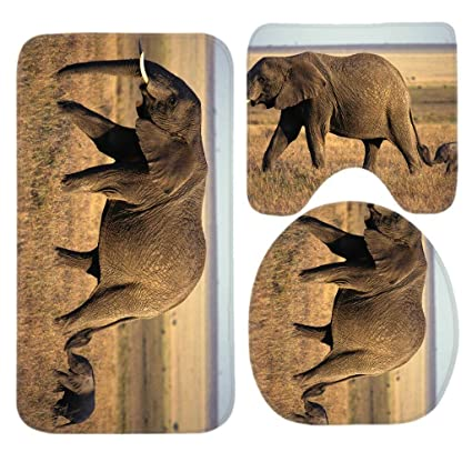 Amazon.com: Elephant Baby Elephant Bath Mat Set, 3 Piece Bathroom ...